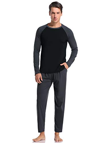 Aibrou Herren Schlafanzug Baumwolle Lang Pyjama Set Langarm Hausanzug Nachtwäsche mit Kontrastfarbe für Winter (D-Dunkelgrau, Medium)