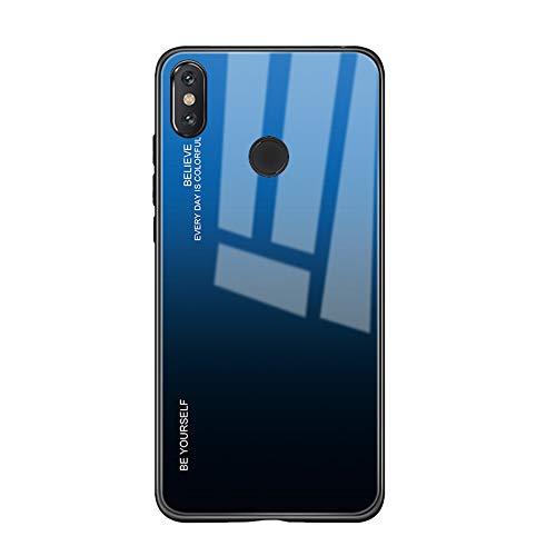 Alsoar Custodia Compatibile con Xiaomi Mi A2 Lite Cover Completa Del Corpo,Custodia Antiurto in Silicone Ultra Sottile con Cover Posteriore in Vetro Temperato per Xiaomi Mi A2 Lite (Blu Nero)