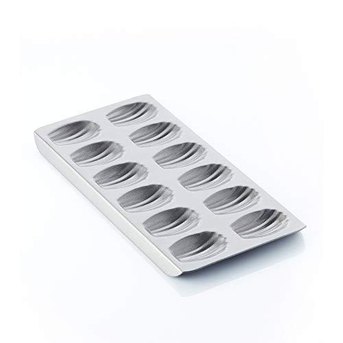 A'Domo PV-BAK-2356 Point-Virgule Moule à pâtisserie avec revêtement anti-adhésif pour 12 madeleines 40 x 21 x 2 cm, acier, argenté