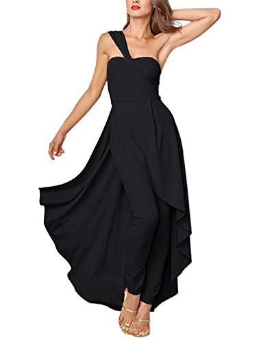 GIKING Women Halter Maxi Overalls, Onepiece Solid Off Shoulder Dress Rompers with Ruffles Black S
