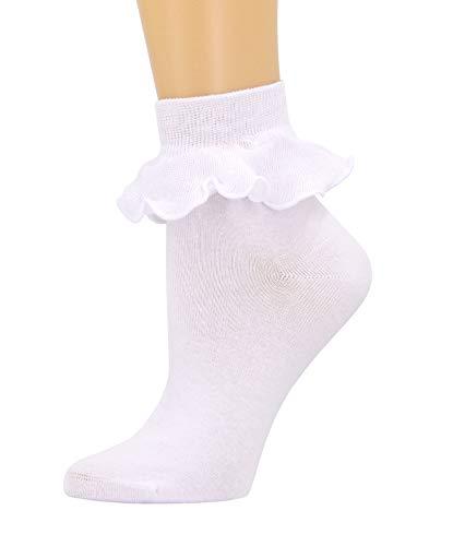 SEMOHOLLI Women Ankle Socks,Lace Ruffle Frilly Comfortable No-Show Cotton Socks Princess Socks Lace Socks SM02 (White-1 Pairs)