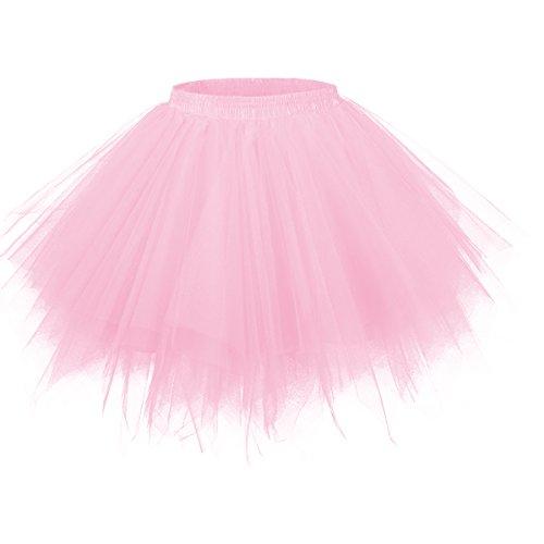 GirstunmBrand Damen 50er Vintage Tüllrock Petticoat Mehrfarbig Bubble Tanzkleid Rock Rosa-S/M
