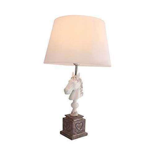 Heart-Shaped Luxury Horse Head lamp, handgemaakte stof lampenkap kwaliteit hars lamp lichaam E27 spaarlamp leeslamp, slaapkamer studie bureaulamp