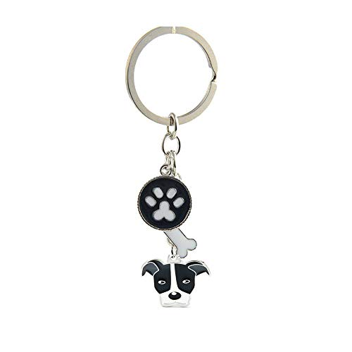 Dog Keychain, Puppy Keyring Keyfob Metal Pet ID Tags for Clothing Bag Adornment Accessory (24-Pit Bull Terrier)