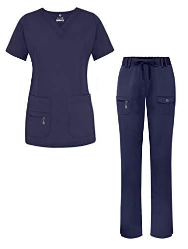 Adar Pro Breakthrough Plus Scrub Set for Women - Enhanced V-Neck Top & Multi Pocket Pants - 4400 - Navy - L