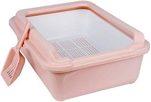ZXL Kattenbak, kattenbak, toilet voor huisdieren, gemakkelijk te reinigen, dubbellaagse zandbak voor katten, draagbaar, zandbak en schep, voor kleine