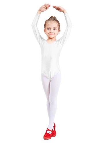 Ensnovo Girls' Spandex Long Sleeve Leotard for Dance, Gymnastics and Ballet White, 4XL