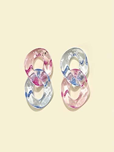 NCOEM Pendientes Elegantes de Las Mujeres Pendientes de Enlace de Cadena acrílica Regalo de Joyas del día de la Madre del cumpleaños (Color : Multicolor)