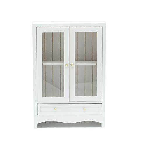 Ouken 01.12 Puppenhaus Dekoration Spielzeug Miniatur-Holz-Double-Layer-Tür-Kabinett-Minimöbel Puppenzubehör Weiß