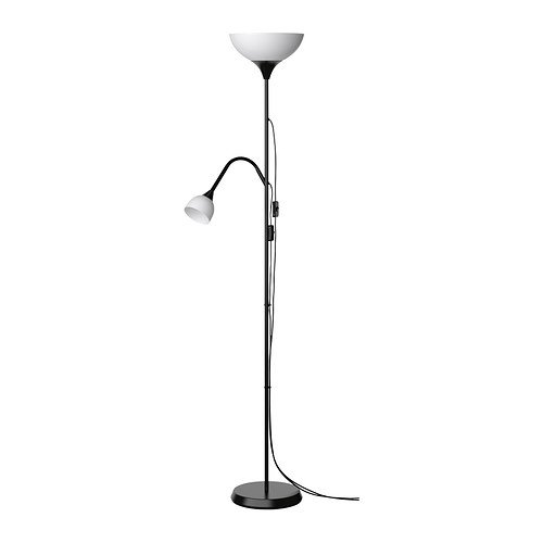 IKEA NOT Tall Black Floor Lamp - Uplighter with Reading Lamp