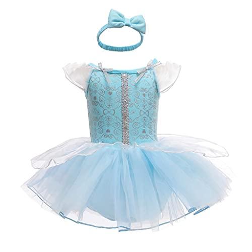 Lito Angels Body de Cenicienta para bebé con banda para el pelo, disfraz de Halloween, disfraz de fiesta de cumpleaños de 9 a 12 meses, azul 299