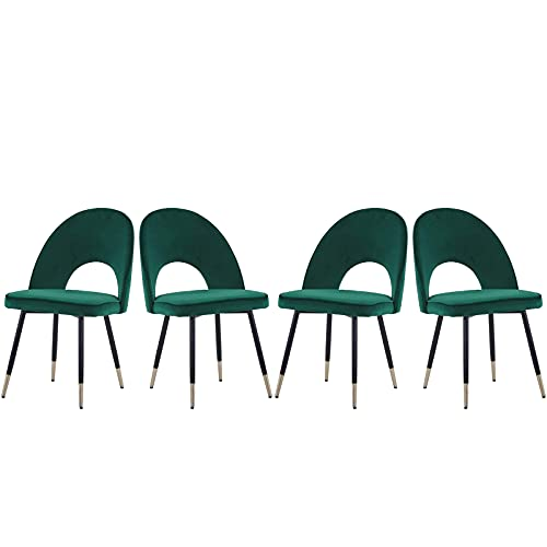 AINPECCA Esszimmerstühle, Samt, gepolstert, mit Metallbeinen, 4 Stück (grün und goldfarben)