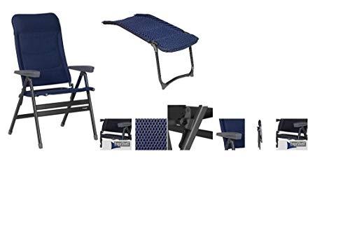 Aktion - 2 x DER BEQUEMSTE - XL 70 cm BREITER KLAPPSTUHL + BEINAUFLAGE + ABLAGENETZ HINTEN - Westfield Outdoors Stuhl Advancer XL Dark Blue -
