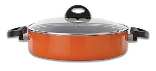 Berghoff 3700161 Sauteuse Italienne avec Couvercle Orange 26 cm, Aluminium forgé