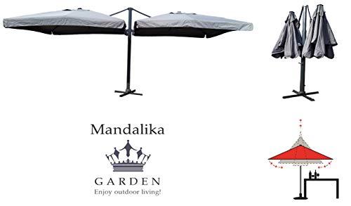 Mandalika Garden XXL Gastronomie - Sombrilla de Doble Brazo (300 x 300 cm, protección UV 60 Plus, Incluye Soporte para sombrilla, manivela extraíble, función telescópica), Color Gris