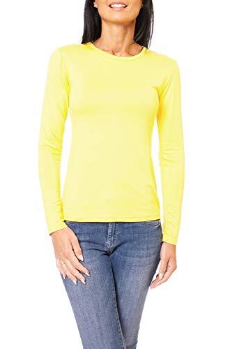 Easy Young Fashion Damen Basic Langarmshirt Skiny Fit Langarm Unterziehshirt Longsleeve Shirt mit Rundhals-Ausschnitt Gelb L 40