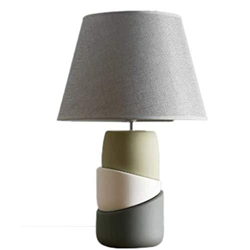 WZHZJ Lámpara de Mesa Moderna Dormitorio lámpara de cabecera Lámpara de Mesa de cerámica de Tela decoración del hogar de la lámpara de decoración de la Tabla
