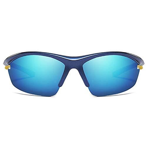 LCSD Gafas de sol para hombre con montura media para equitación al aire libre, material de policarbonato, lentes azules, marco azul profundo, lentes p...