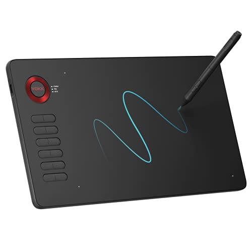 絵描きペンタブペンタブレット 板タブ10x6インチ イラスト 初心者 12個ショートカットキー PC Windows スマホ Android6.0対応可能 8192レベル筆圧検知 グローブ付き 在宅勤務 VEIKK A15(レッド)