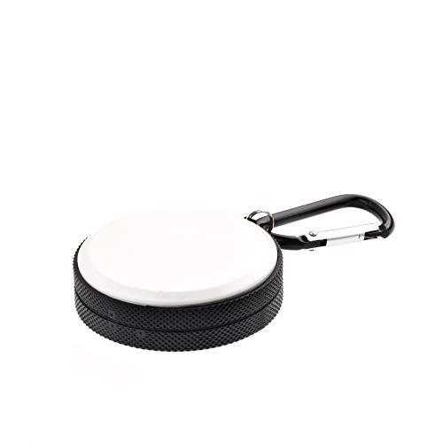 Quantum Abacus Mini Ashtray/Pocket Ashtray/Travelling Ashtray Made of Metal, Round tin with Key Chain, Color: White-Black, Mod. 1645-01