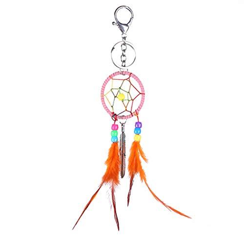 Bageek Braided Keychain Decorative Pendant Keychain Key Ring Handbag Pendant Faux Feather Bag Charm Car Keychain Pendant Car Keychain Charms