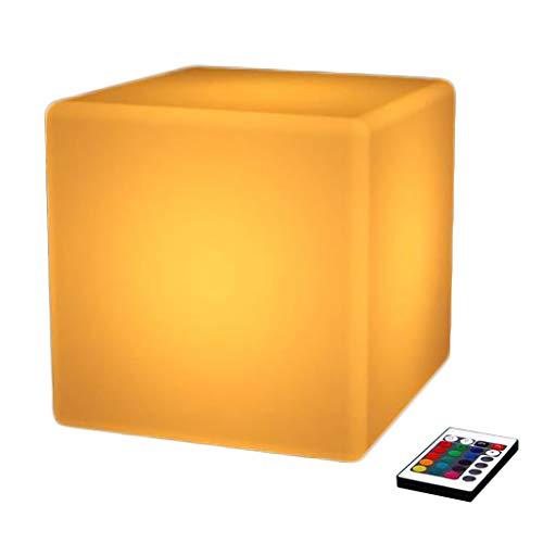 Cubo Iluminado Decorativo Integrado RGB Remoto lámparas de Control Mesa de Billar Bar Cafe KTV Decoración Luces de Humor Silla de Playa Impermeable Recargable de la Noche de Luz LED Taburete,Cube 10cm