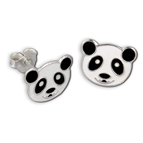 Teenie-Weenie orecchini orso Panda Bianco–Argento Sterling 925per bambini–sdo8103W