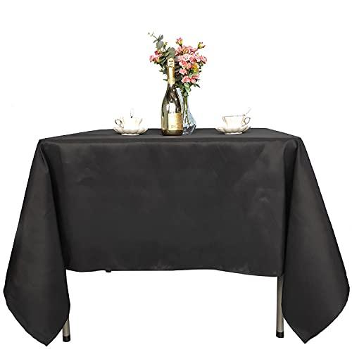 WedDecor Negro Mantel Rectangular de algodón y poliéster para decoración de Bodas, Banquetes, cenas y Fiestas de cumpleaños, 90 x 132 Pulgadas, Paquete de 1