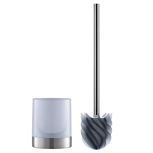 LOOMAID Silikon-WC-Bürste inkl. Bürstenhalter milchig | schmutzabweisender Reinigungskopf mit flexiblen Lamellen [Edelstahl/anthrazit]