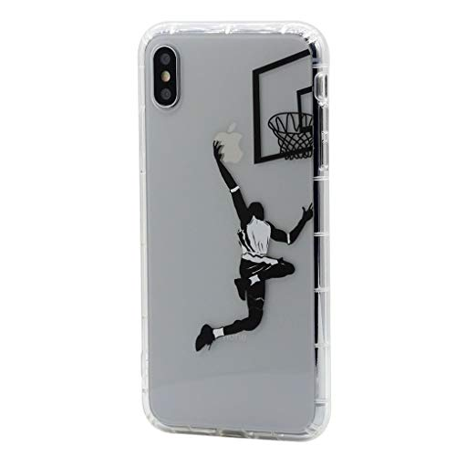 Keyihan Funda para Apple iPhone 6 Plus y iPhone 6S Plus 5,5 Pulgadas Patrón Jugar Baloncesto Layup Anti-choques Carcasa Protectora Transparente Claro Suave TPU Silicona Shockproof Case para Chicos