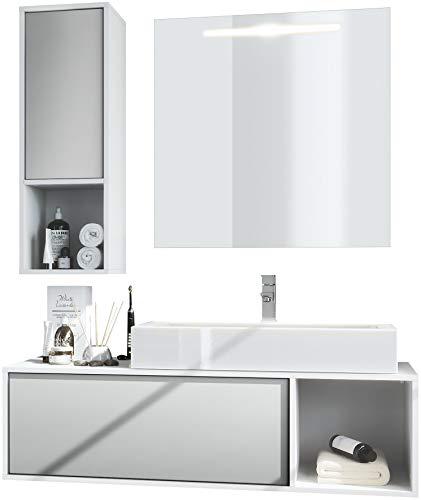 Vladon Badmöbel Komplettset La Costa, Korpus in Weiß matt/Fronten in Hellgrau seidenmatt, mit Aufsatzwaschbecken, Armatur und LED Spiegel