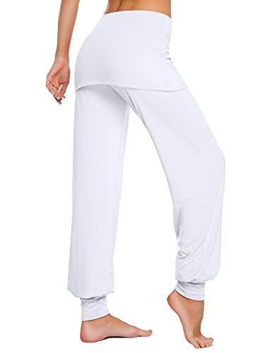 Sykooria Pantalones Harem Mujer Pantalones con Falda de Yoga para Mujer Pantalones Deportivos de Algodón Pantalon Harem de Anchos Cintura Alta Pilates Baile Fitness
