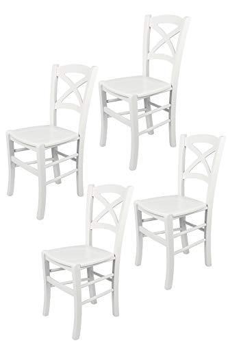Tommychairs - Set 4 sillas Cross para Cocina y Comedor, Estructura en Madera de Haya barnizada Color Blanco y Asiento en Madera