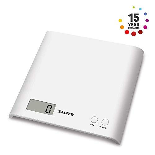 Salter 1066WHDR Bilancia pesalimenti-capacità 3kg Ampio Display 4.5 x 2.0cm Facile da Riporre-Dimensioni : 20 x 4,5 x 20 cm, Acciaio Inossidabile, Bianco, 22x22x3.8 Centimeters, electric, metallo