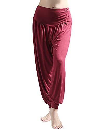 Wtiea Yogahose Damen Haremshose Weiche Jogginghose Elastisch Modal Baumwolle Lange Hose