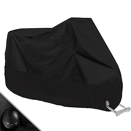 Hanbee Funda para Moto Cubierta Protectora UV de la Motocicleta con Agujeros de Bloqueo, Impermeable y Resistente al Viento Lluvia Nieve,Antipolvo al Aire Libre, 190T, XXL 245X105X125cm,Negro
