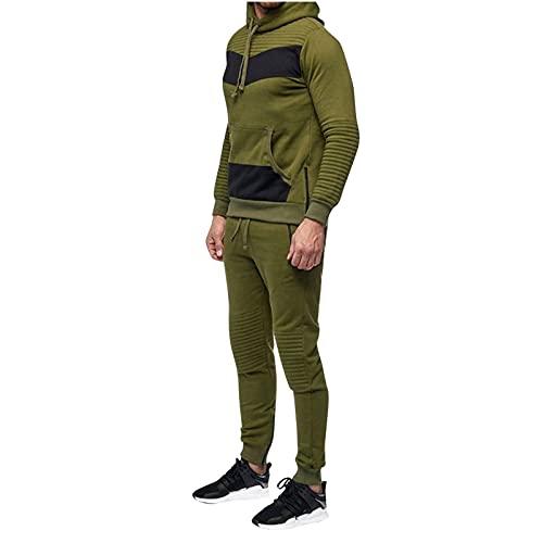 Chejarity Chándal para hombre, a rayas, con capucha, chaqueta deportiva para correr, bolsillo tipo canguro, chándal para casa, sudadera con capucha y pantalones de deporte, Verde militar., M