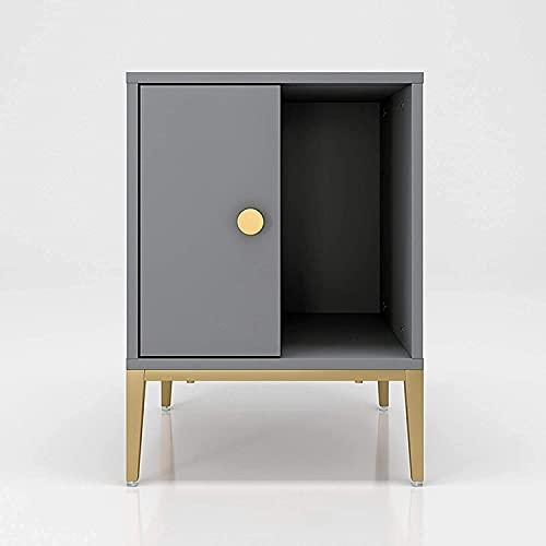 Slitstarkt nattduksbord, Enkelt förvaringssängbord, Sängbord i trä med handtagslåda och öppet skåp, tyst spår (färg: A)