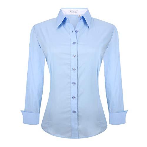 Alex Vando Womens Dress Shirts Regular Fit Long Sleeve Stretch Work Shirt,Blue,M