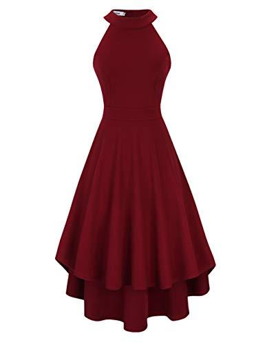 Clearlove Damen Abendkleid Ärmellos Cocktailkleid Neckholder Brautjungfernkleid Elegant Asymmetrisches Partykleid, Weinrot-nicht Rückenfrei, M