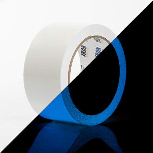 Glow Tape - 2 Inch x 30ft Vinyl Adhesive Blue Glow-in-The-Dark Tape Roll - Lasts Up to 12 Hours
