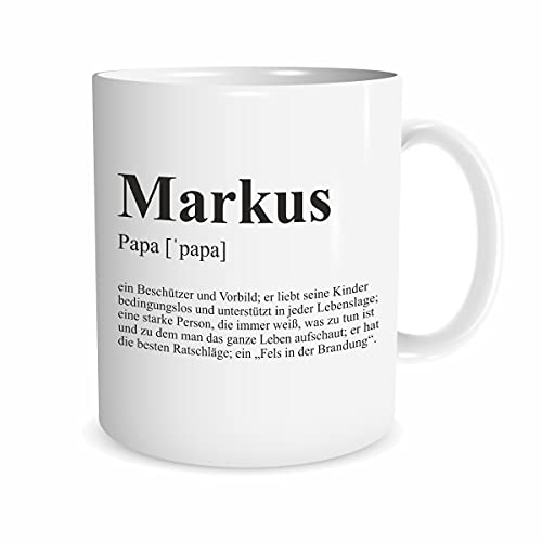 Papa Spruch-Tasse Definition Geschenk Kaffee-Becher Geburtstag Vater Dankeschön (Weiß, Personalisiert)