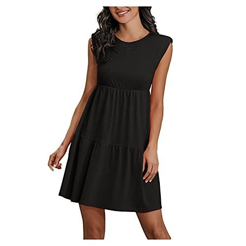 LLOTODO Pleated Dress Women's Round Neck Sleeveless Midi Dress Summer Solid Casual Elegent A Line Dress Beach Dress (Black, L)