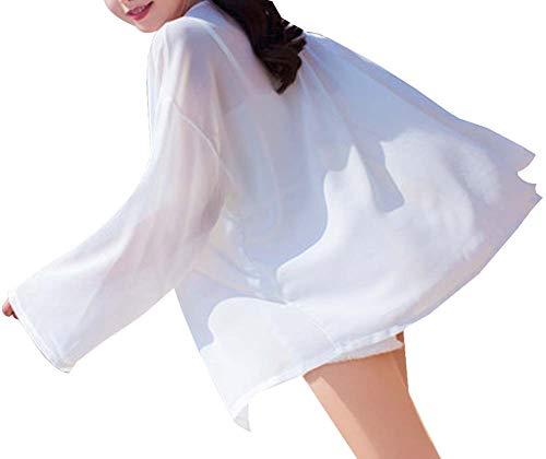 Black Temptation Protection Solaire vêtements Femmes crème Solaire châle Manteau Mince, Blanc-2
