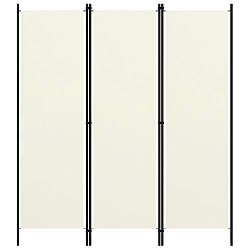 vidaXL Raumteiler Klappbar Freistehend Trennwand Paravent Umkleide Sichtschutz Spanische Wand Raumtrenner 3 TLG. Cremeweiß 150x180cm Eisen Stoff