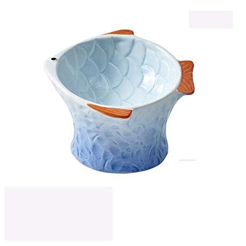 China OEM Cuenco de cerámica para gatitos con mayor protección cervical, arroces, para gatos en forma de pez, para interiores y mascotas, cuenco para aperitivos enlatados (azul)
