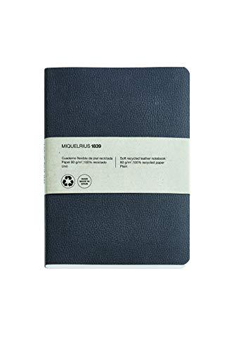 Miquel Rius - Cuaderno bonito 100% reciclado, cubierta flexible de piel reciclada, tamaño 152 x 210 mm, 200 páginas lisas de 80 g/m², color negro