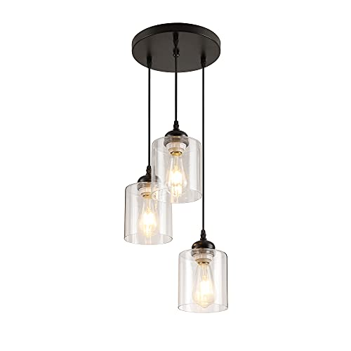 Black 3-Light Pendant Light, Industrial Mini Hanging Light Fixtures with Clear Glass Shade, Kitchen Dining Pendant Lighting, Vintage Farmhouse Ceiling Lamp