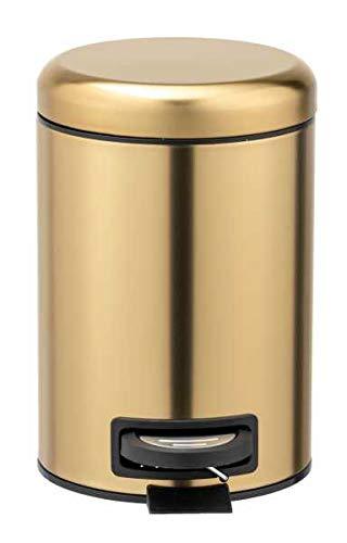 WENKO Kosmetik Treteimer Leman, 3 Liter, Badezimmer-Mülleimer, kleiner Abfalleimer mit Anti-Fingerprint Beschichtung, aus rostfreiem Edelstahl, 17 x 25 x 22,5 cm, Gold matt