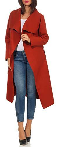 malito dames mantel lang met watervalkraag | Trenchcoat met riem | zachte Dufflecoat | Parka - Jas 3040